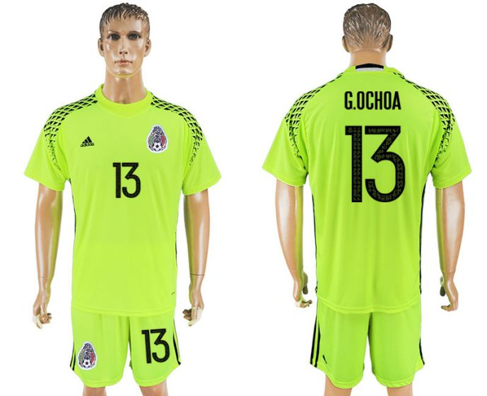 Men 2017-2018 National Mexico fluorescent green goalkeeper13 soccer jersey