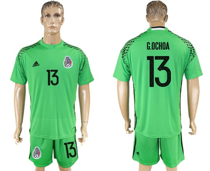 Men 2017-2018 National Mexico green goalkeeper 13 soccer jersey