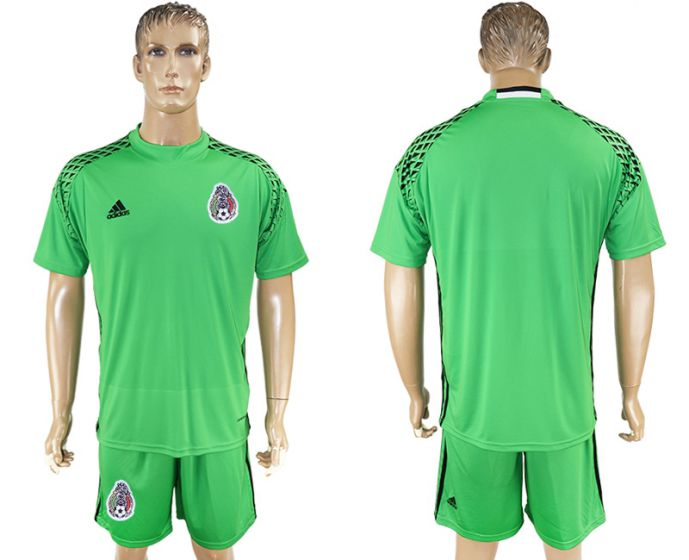 Men 2017-2018 National Mexico green goalkeeper soccer jersey