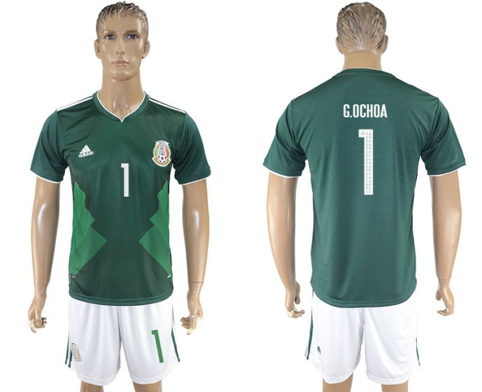 Men 2017-2018 National Mexico home 1 soccer jersey