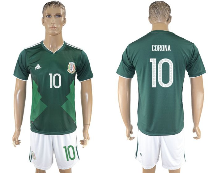 Men 2017-2018 National Mexico home 10 Corona soccer jersey