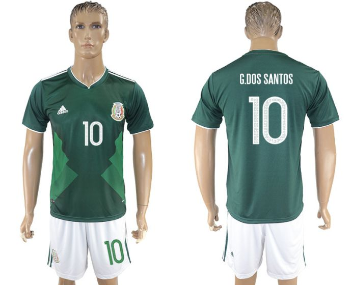 Men 2017-2018 National Mexico home 10 soccer jersey