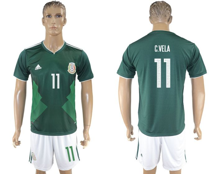 Men 2017-2018 National Mexico home 11 soccer jersey