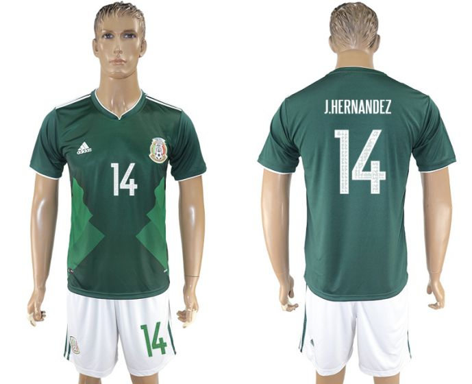 Men 2017-2018 National Mexico home 14 green soccer jersey