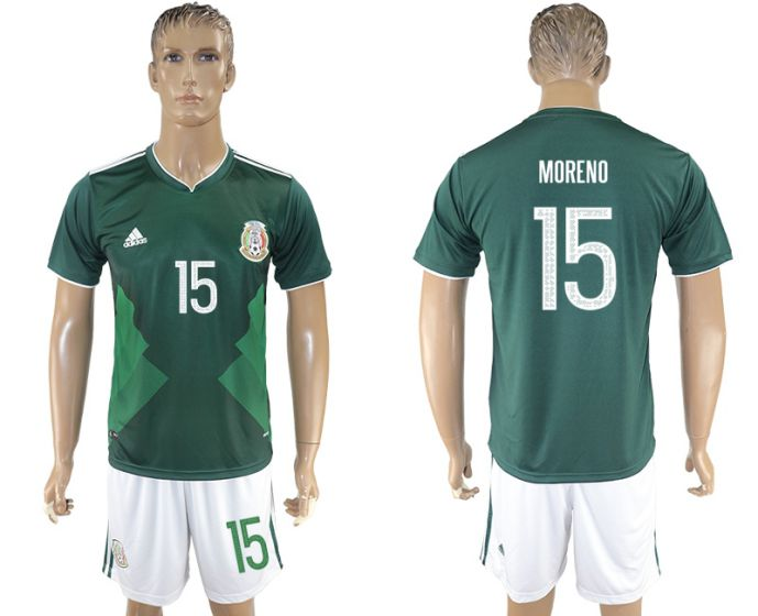 Men 2017-2018 National Mexico home 15 soccer jersey