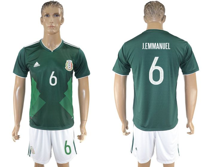 Men 2017-2018 National Mexico home 6 J Emmanuel soccer jersey