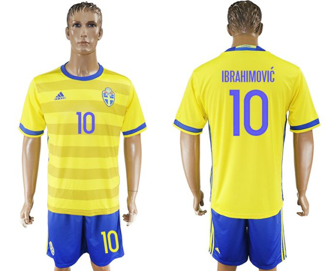 Men 2017-2018 National Sweden home 10 soccer jersey
