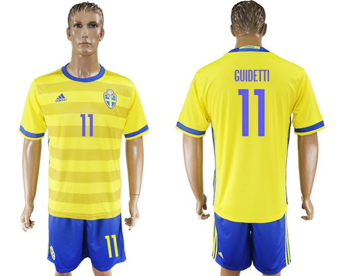 Men 2017-2018 National Sweden home 11 soccer jersey
