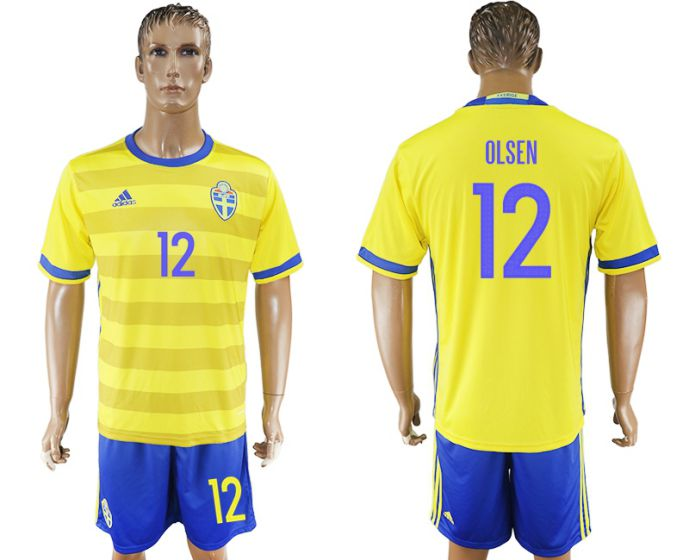 Men 2017-2018 National Sweden home 12 soccer jersey