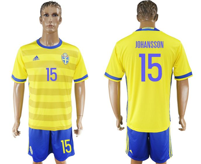 Men 2017-2018 National Sweden home 15 soccer jersey