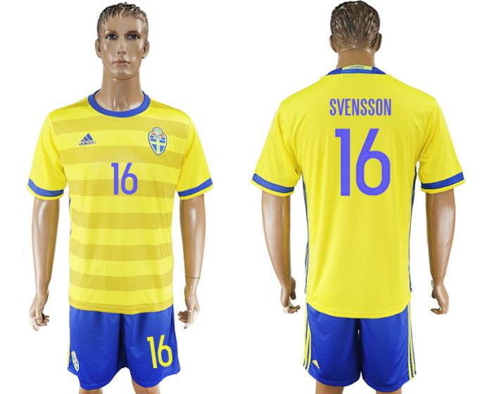 Men 2017-2018 National Sweden home 16 soccer jersey