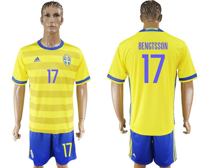 Men 2017-2018 National Sweden home 17 soccer jersey