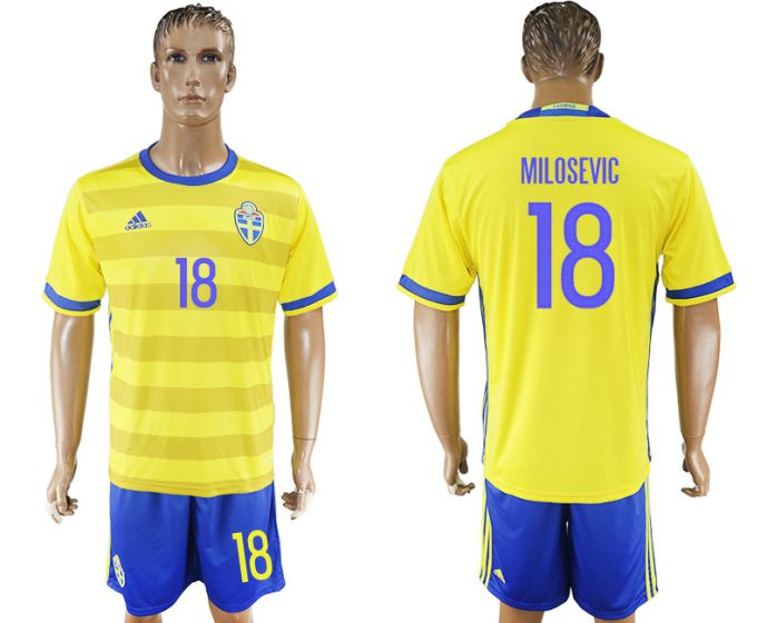 Men 2017-2018 National Sweden home 18 soccer jersey