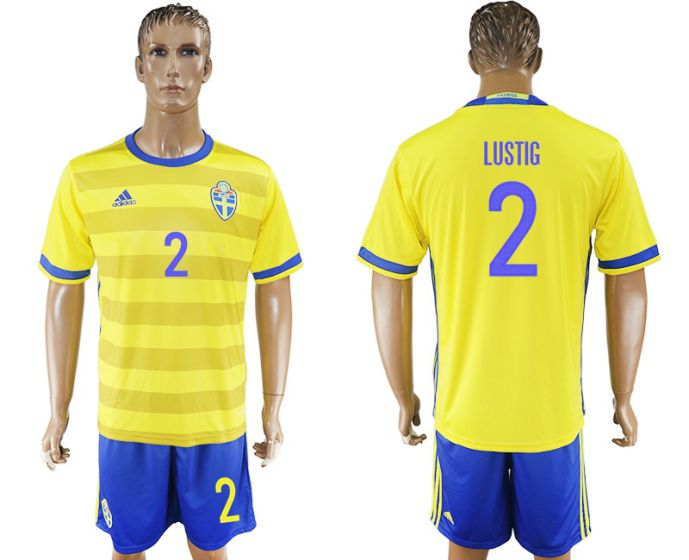 Men 2017-2018 National Sweden home 2 soccer jersey