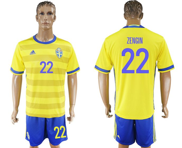 Men 2017-2018 National Sweden home 22 soccer jersey