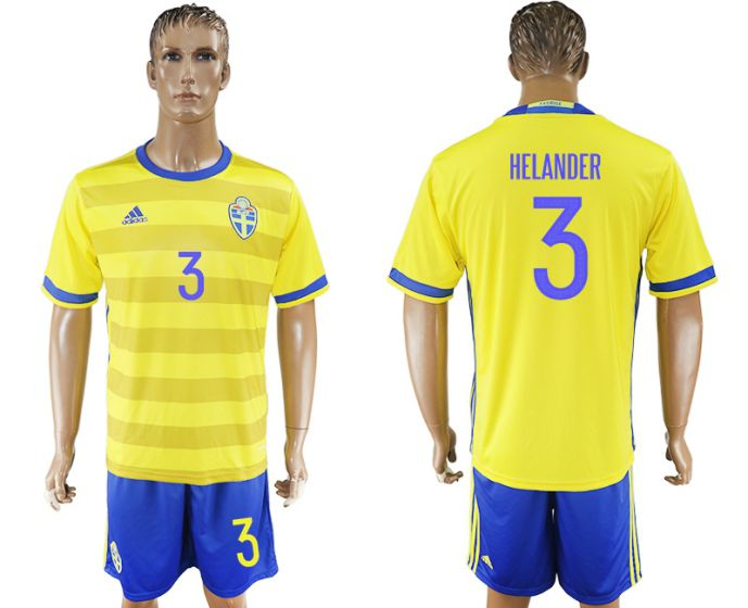 Men 2017-2018 National Sweden home 3 soccer jersey