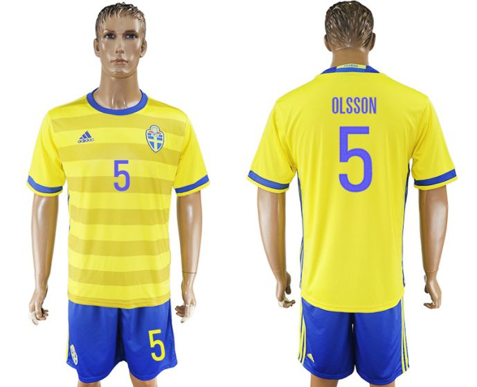 Men 2017-2018 National Sweden home 5 soccer jersey