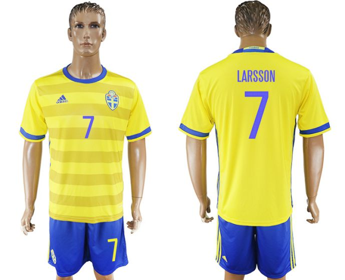 Men 2017-2018 National Sweden home 7 soccer jersey
