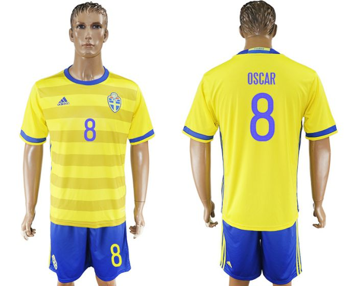 Men 2017-2018 National Sweden home 8 soccer jersey