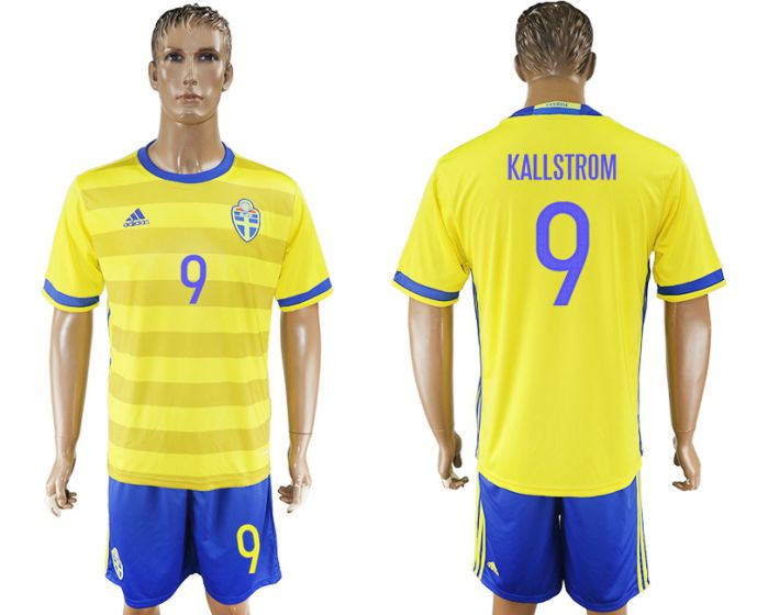 Men 2017-2018 National Sweden home 9 soccer jersey