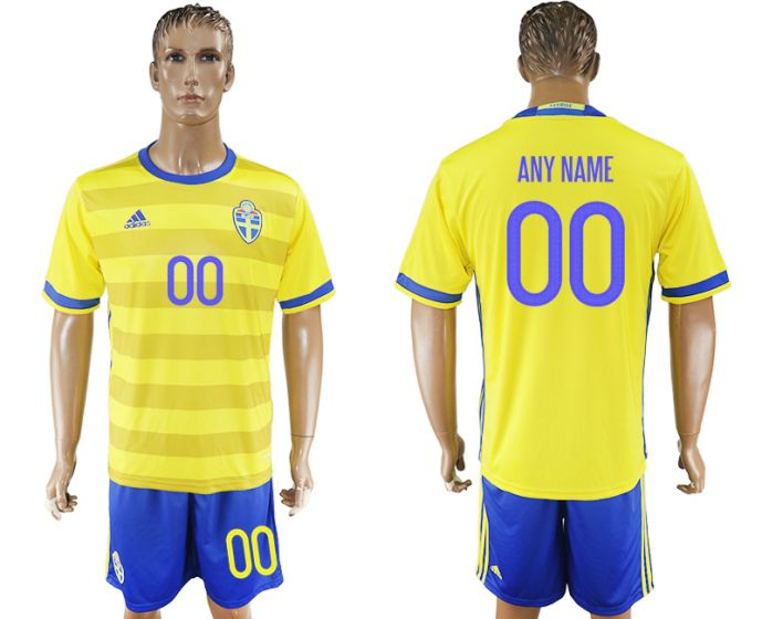 Men 2017-2018 National Sweden home customized soccer jersey
