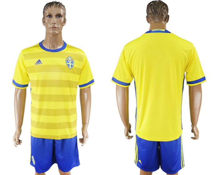 Men 2017-2018 National Sweden home soccer jersey