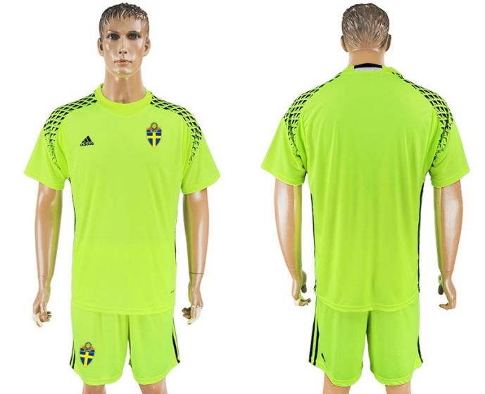 Men 2017-2018 National Swedish fluorescent green goalkeeper soccer jersey