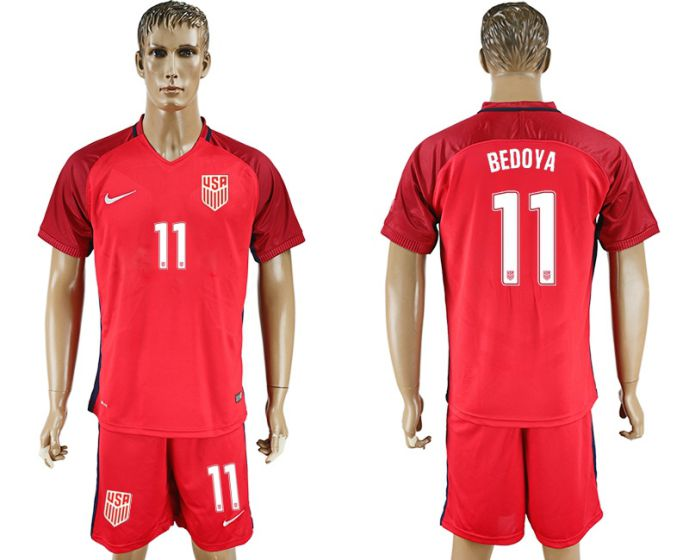 Men 2017-2018 National USA away 11 Bedoya soccer jersey