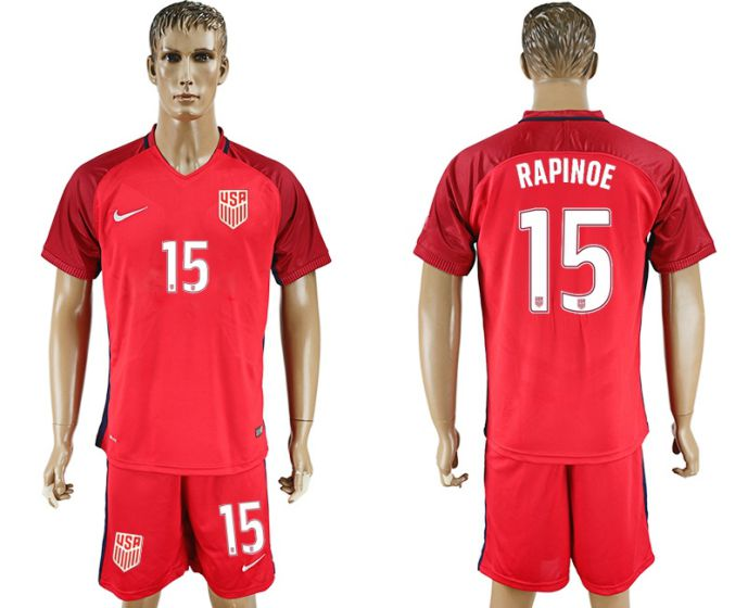 Men 2017-2018 National USA away 15 Rapinoe soccer jersey
