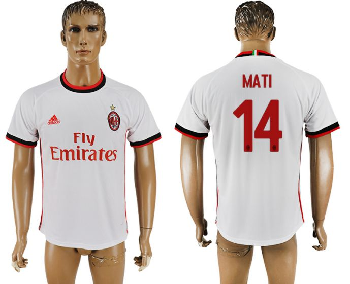 Men 2017-2018 club AC milan 14 white soccer jersey