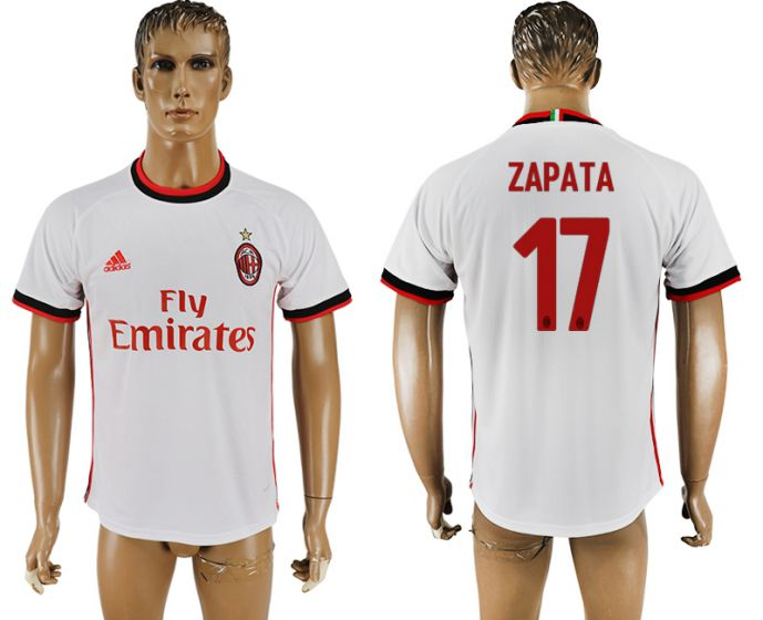 Men 2017-2018 club AC milan 17 white soccer jersey
