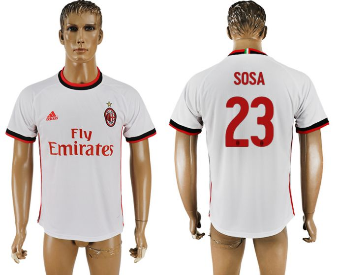 Men 2017-2018 club AC milan 23 white soccer jersey