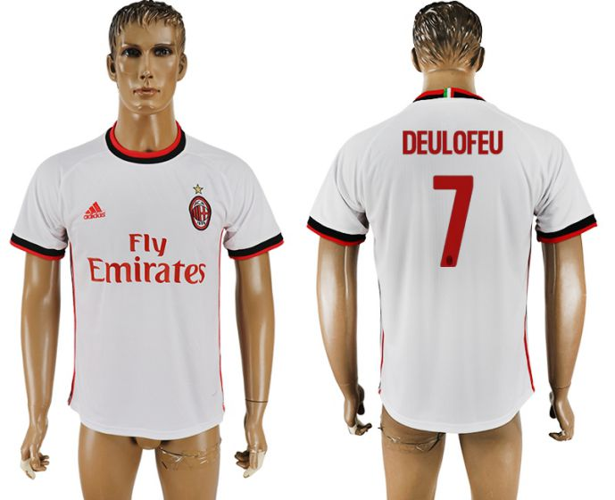 Men 2017-2018 club AC milan 7 white soccer jersey
