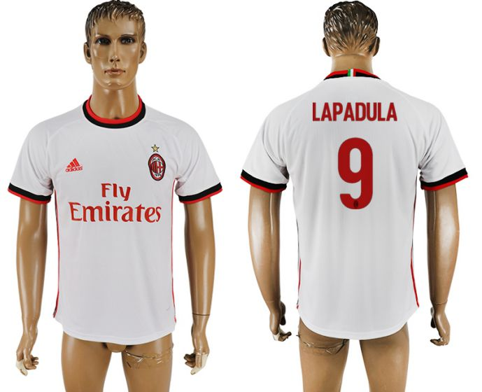 Men 2017-2018 club AC milan 9 Lapadula white soccer jersey