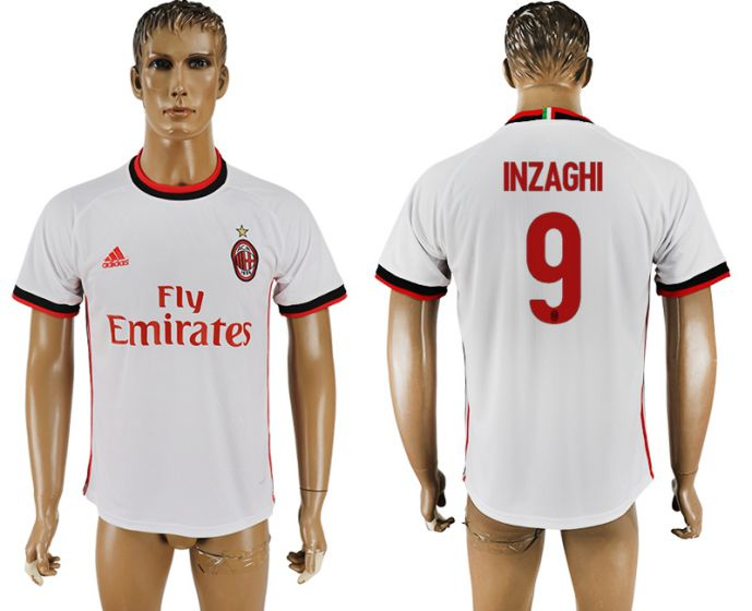 Men 2017-2018 club AC milan 9 white soccer jersey