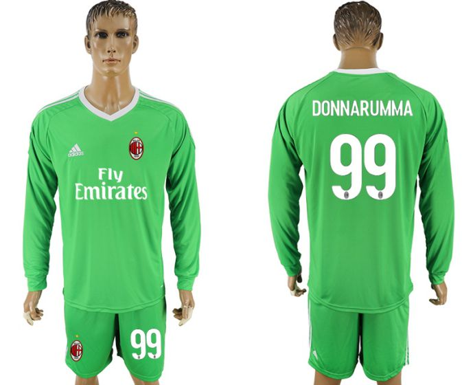 Men 2017-2018 club AC milan green goalkeeper long sleeve 99 soccer jersey