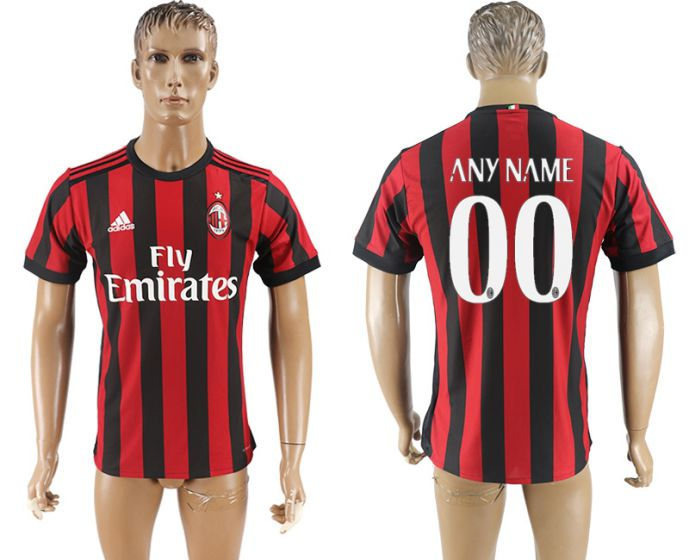 Men 2017-2018 club AC milan home aaa version customized red soccer jersey