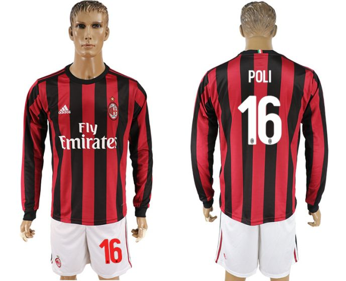 Men 2017-2018 club AC milan home long sleeve 16 soccer jersey