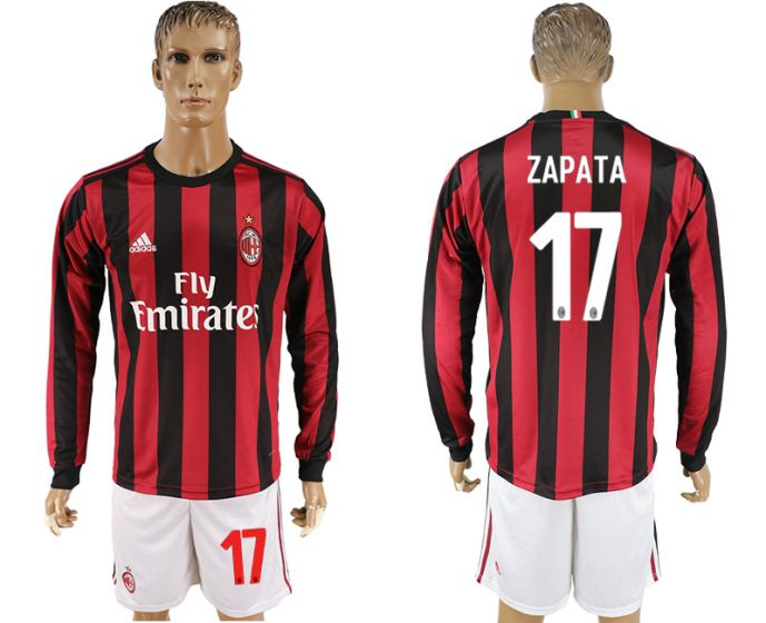Men 2017-2018 club AC milan home long sleeve 17 soccer jersey