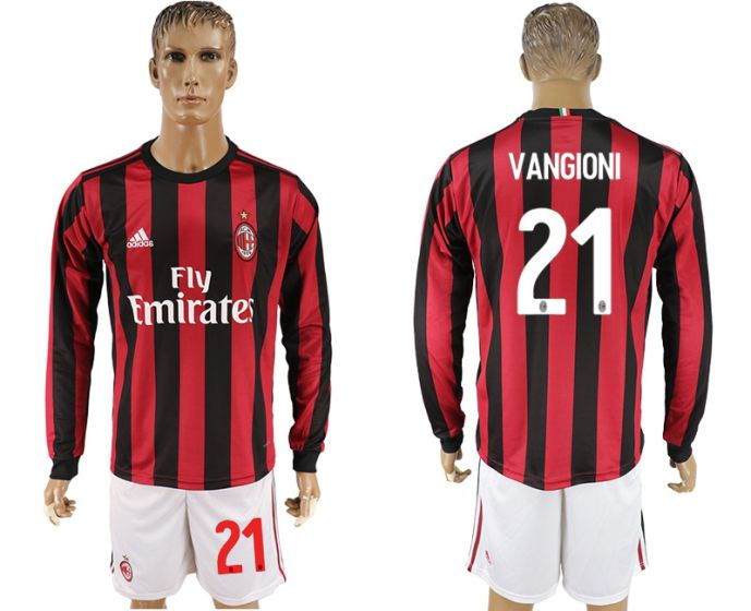 Men 2017-2018 club AC milan home long sleeve 21 soccer jersey