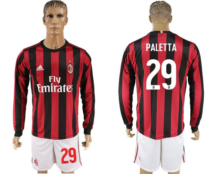 Men 2017-2018 club AC milan home long sleeve 29 soccer jersey