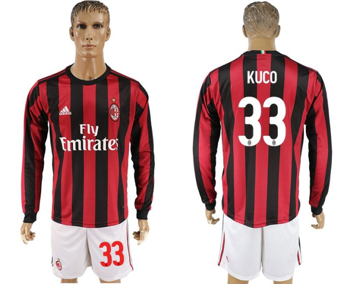 Men 2017-2018 club AC milan home long sleeve 33 soccer jersey