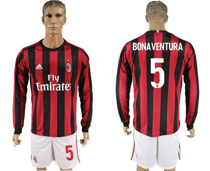 Men 2017-2018 club AC milan home long sleeve 5 soccer jersey