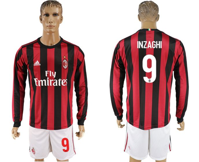 Men 2017-2018 club AC milan home long sleeve 9 soccer jersey