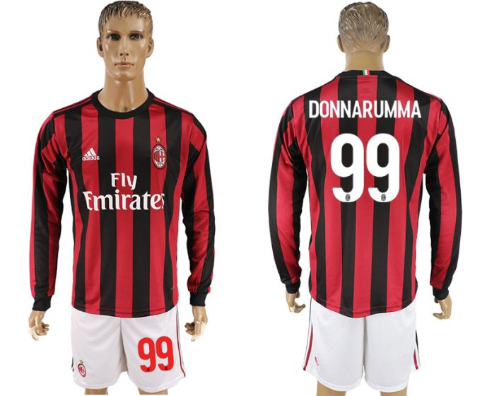 Men 2017-2018 club AC milan home long sleeve 99 soccer jersey
