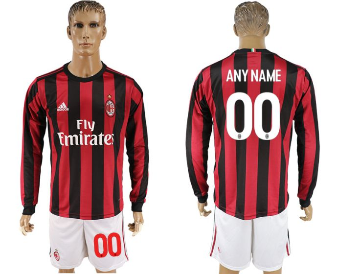 Men 2017-2018 club AC milan home long sleeve customized soccer jersey