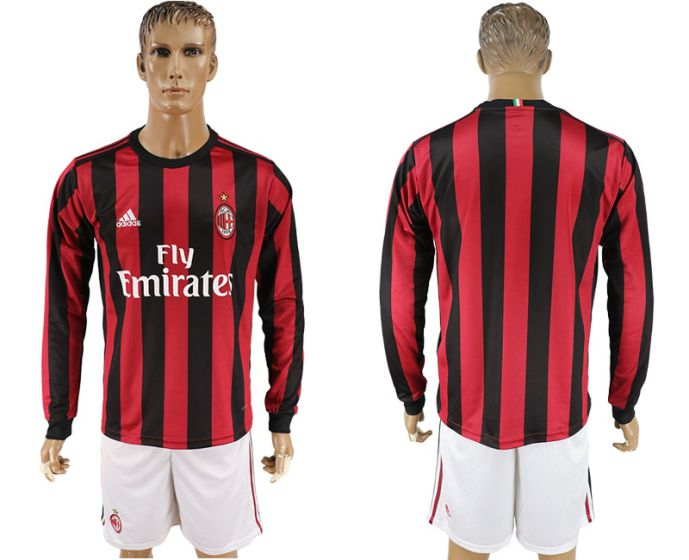 Men 2017-2018 club AC milan home long sleeve soccer jersey