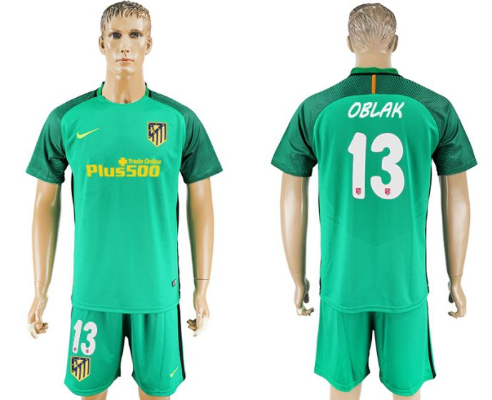 Men 2017-2018 club Atletico Madrid green goalkeeper 13 soccer jersey