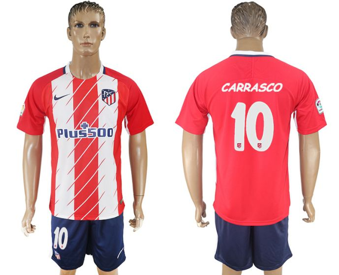 Men 2017-2018 club Atletico Madrid home 10 Carrasco red soccer jersey
