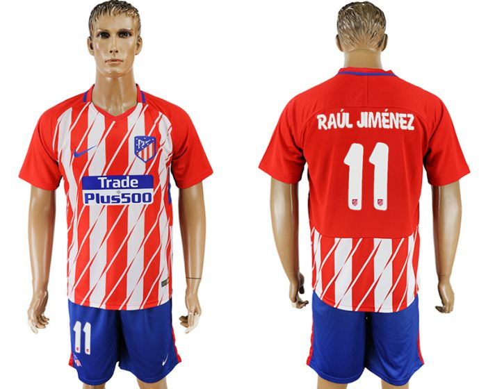 Men 2017-2018 club Atletico Madrid home 11 soccer jersey